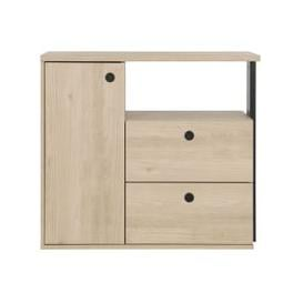 image-Gami Duplex 2 Drawer Chest - Natural Chestnut and Black Foil