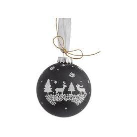 image-Libra Christmas Winter Scene Bauble Black 10cm - Xmas-18
