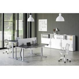 image-Wendell L-Shape Height Adjustable Standing Desk Symple Stuff Top Colour: Anthracite, Size: 121cm H x 160cm W x 80cm D