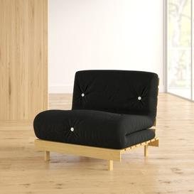 image-Kaley 1 Seater Futon Chair Zipcode Design Upholstery Colour: Black, Size: Small Single (2'6)
