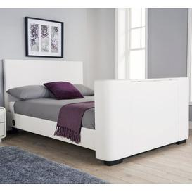 image-Gayle Upholstered TV Bed Wade Logan Colour: White Faux Leather, Size: Double (4'6)