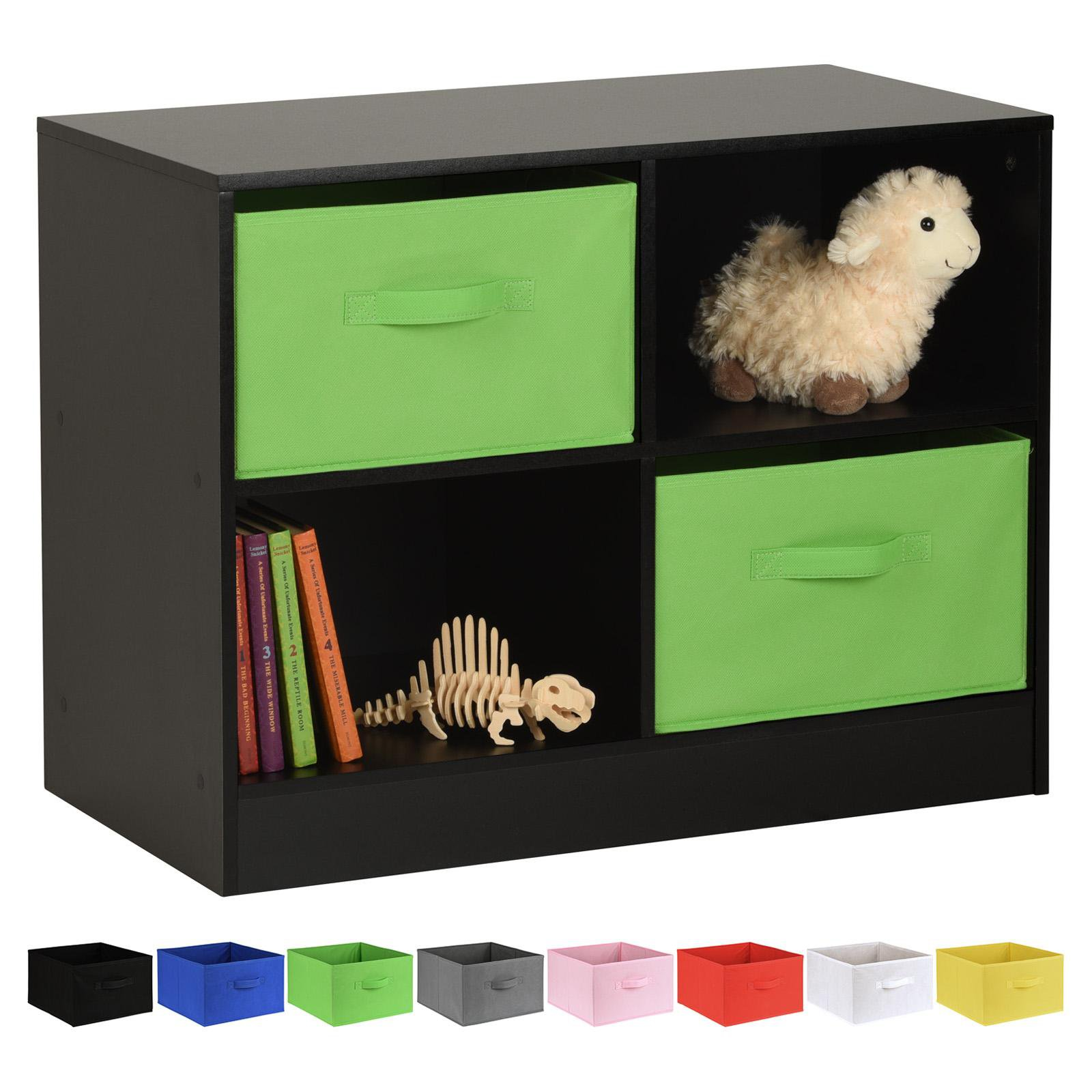 image-Hartleys Black 4 Cube Kids Storage Unit & 2 Handled Box Drawers - Green