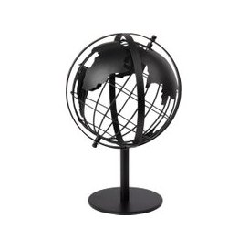 image-Black Cut Out Metal Globe Figurine H30