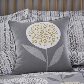 image-Elements Emmott Grey & Ochre Cushion Grey and White
