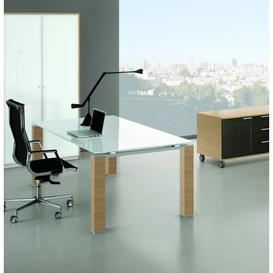image-Brigitte Executive Desk Ebern Designs Colour (Top/Frame): White/Light Brown, Size: 72cm H x 180cm W x 80cm D