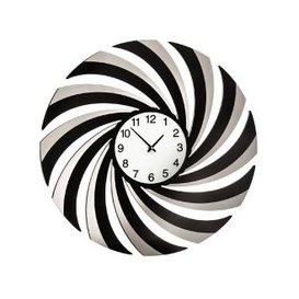 image-Phantom Swirl Wall Clock In Black Mirrored Glass And Acrylic