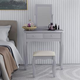 image-Dressing Table Set With Mirror And Stool Makeup Desk Dresser,Grey