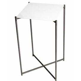 image-Bedell Pedestal Plant Stand Ebern Designs Base Colour: Metal, Top Colour: White