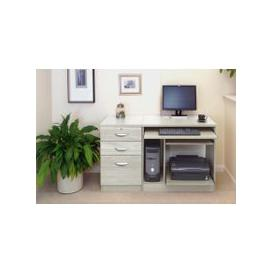 image-Small Office Desk Set With Computer Workstation & 3 Drawers (Grey Nebraska)