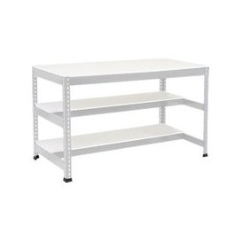 image-Rapid 1 Heavy Duty Workbench With 2 Half Melamine Shelves (Grey), Grey, Free Next Day Delivery