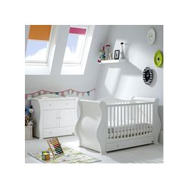image-Tutti Bambini Marie Cot Bed 2 Piece Nursery Set in White with Optional Free Mattress
