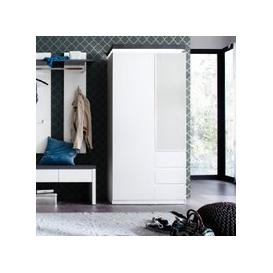 image-Mentis Hallway Wardrobe In Matt White And Concrete With LED