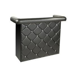 image-Diamond Bar Unit In Black Faux Leather With Diamante
