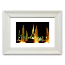 image-'Paris Eiffel Tower Water Fountain Glow' Framed Photograph East Urban Home Size: 30 cm H x 40 cm W, Frame Options: Matte White