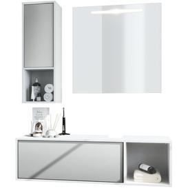 image-La Costa 3 Piece Bathroom Storage Furniture Set with Mirror Vladon Colour/Finish: Semi-gloss light grey, Ausstattung: No washbasin, no tap