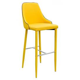 image-Divina Fabric Upholstered Bar Stool In Yellow