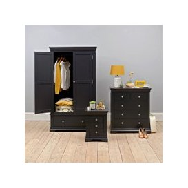 image-Chantilly Black Double Wardrobe Bedroom Set