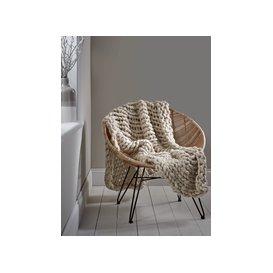 image-Chunky Knit Throw - Cream