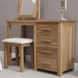 image-Opus Solid Oak Furniture Dressing Table and Stool
