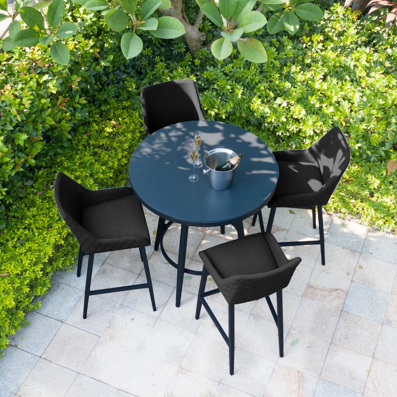 image-Maze Lounge Outdoor Fabric Regal Charcoal 4 Seat Round Bar Set