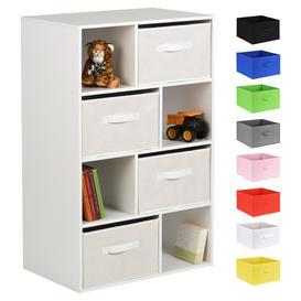 image-Hartleys White 8 Cube Kids Storage Unit & 4 Handled Box Drawers - White