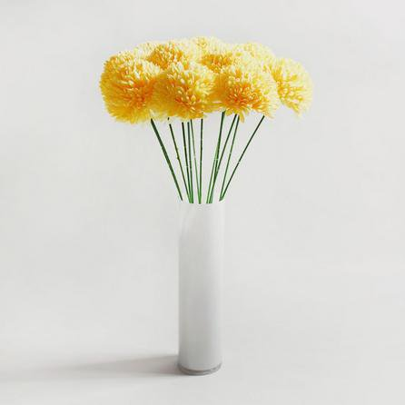 image-12pk Artificial Pompom Flower Yellow Stem 72cm Yellow