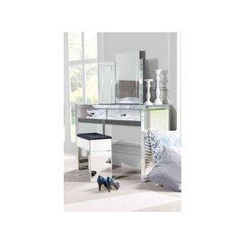 image-APHRODITE Mirrored Dressing Table, COLLETA Triple Folding Mirror &amp Mirrored Stool