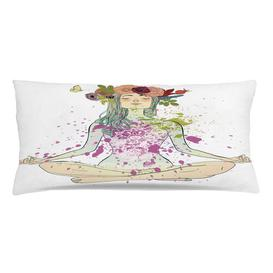 image-Kajetan Yoga Girl Floral Wreath Lotus Outdoor Cushion Cover Ebern Designs Size: 40cm H x 90cm W