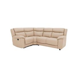 image-Bounce Compact Leather Corner Sofa - Beige- World of Leather
