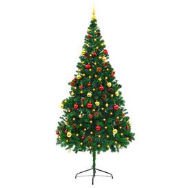image-7ft Green Pine Artificial Christmas Tree with 300 Lights with Stand Berkfield