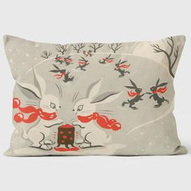 image-Christmas Skating Rabbits Cushion We Love Cushions