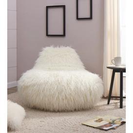 image-Faux Sheepskin Bean Bag - White