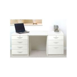 image-Small Office Desk Set With 4+3 Drawers (White)