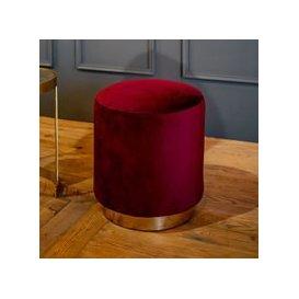 image-Culinary Concepts Small Velvet Footstool - Burnt Orange