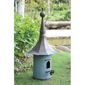 image-Secret Garden Free Standing Bird House Creative Co-Op Colour: Grey/Blue