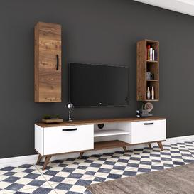 "image-Hyrum Entertainment Unit for TVs up to 55"" Brayden Studio Colour: White/Walnut/Black"