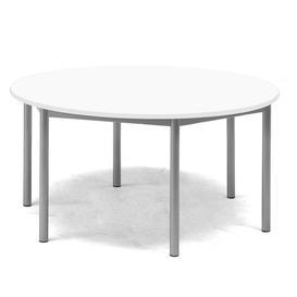 image-Desk BORÅS, round, Ø 1200x600 mm, white laminate, alu grey