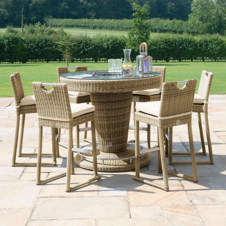 image-Maze Rattan Garden Furniture Winchester 6 Seater Round Bar Set with Ice Bucket