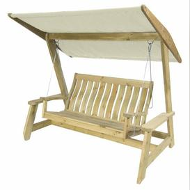 image-Alexander Rose Garden Furniture Solid Pine Farmers Swing Seat (Ecru)