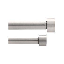 image-Umbra Adjustable Double Curtain Pole Kit, Nickel, Dia.16/19mm