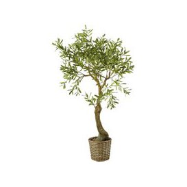 image-Artificial Olive Tree and Woven Rattan Pot H153