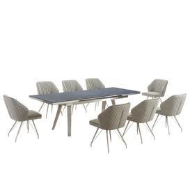 image-Antique Dark Grey Extendable Dining Table with 8 Natural Textured Linen Effect Occasional Brushed Steel Framework Chairs