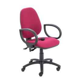 image-Bedford Plastic Desk Chair Ebern Designs Colour (Upholstery): Claret, Arms: Fixed