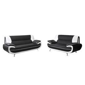 image-Hartle 2 Piece Sofa Set Mercury Row Upholstery Colour: Black/White