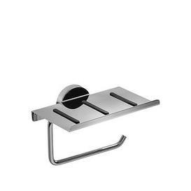image-Croydex Pendle Chrome Toilet Roll Holder With Anti Slip Shelf