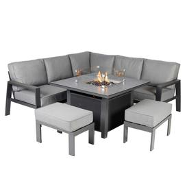 image-Rio Garden Corner Set with Fire Pit in Charcoal Grey Frame with Slate Grey Cushions