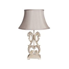 image-Ambos Table Lamp In Fluted Satin Shade With Cream Base