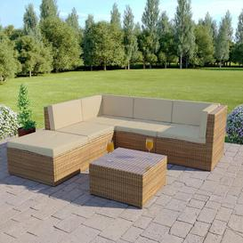 image-Skyler 6 Seater Rattan Corner Sofa with Cushions Sol 72 Outdoor Colour: Natural/Cream