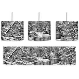 image-Beautiful Winter Landscape 1-Light Drum Pendant East Urban Home Shade colour: Black/White