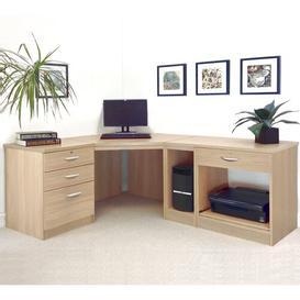 image-Walshaw L-Shape Computer Desk Ebern Designs Finish: Sandstone